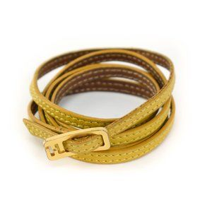 FENDI: Yellow/Brown Leather FF Logo Bracelet (mo)